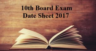 10th board exam date sheet 2017